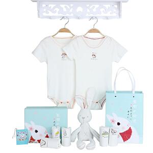 Yinbeler婴儿礼盒7件一星期夏季哈衣短袖爬行服满月礼物6-24个月夏季婴儿礼盒连体衣