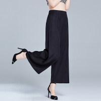 魅儿服饰2018夏季新款重磅真丝阔腿裤桑蚕丝休闲九分裤直筒女裤子ZS01 黑色