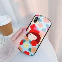 苹果X玻璃弧形手机壳xr/xs max/iPhone7/8plus趣味卡通可爱女款6s 苹果7/4.7 弧形玻璃碎花女