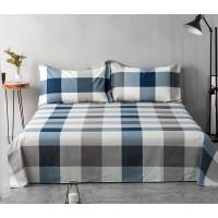 全棉床单单件双人1.51.8米斜纹纯棉棉布被单床上三件套 2.0床用270*230送一对同款枕套 约重2.