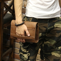 2018新款包 定型皮韩版男士手包休闲手拿包软皮手抓包夹包 咖啡色