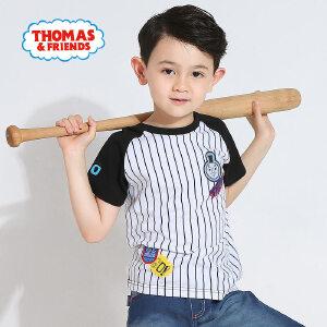 [满200减100]托马斯童装正版授权男童夏装休闲圆领黑白条纹拼接纯棉短袖T恤