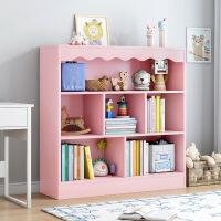 【爆款】儿童书柜落地简易客厅简约书架绘本架子实木色学生书橱收纳置物架