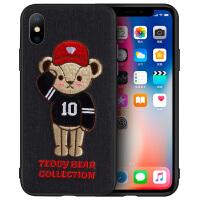 泰迪熊iPhone xs max手机壳刺绣XR苹果X硅胶防摔8plus立体7情侣女 iPhoneXS MAX棒球手泰迪