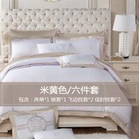 【人气】媲美水 星 酒店床品四件套纯棉贡缎床上用品六件套全棉欧式绣花1.8m床