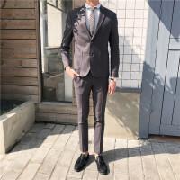 小西装男士套装韩版修身英伦风韩国正装职业潮流西服结婚服 深灰色 上衣加裤子