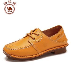 骆驼牌 纯色休闲女士单鞋英伦舒适单鞋低帮复古女鞋