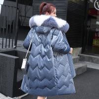 2018冬季新款丝绒羽绒服女中长款韩版宽松加厚潮流外套鸭绒大毛领