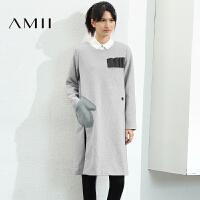 【会员节! 每满100减50】AMII[极简主义]冬新品侧开衩直筒羊毛混纺毛呢连衣裙21674382