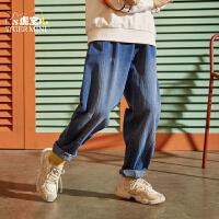 【2件3折:89.7元】男童牛仔裤子潮洋气儿童韩版宽松中大童休闲工装裤2021春秋新款