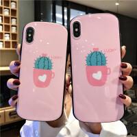 粉色仙人掌苹果x/xsmax手机壳iPhonexr/7plus椭圆形6s/8p硅胶软壳 6/6s 粉色仙人掌圆弧形