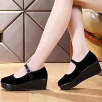 老北京布鞋一字扣带黑色酒店服务员工作鞋子礼仪鞋厚底布鞋