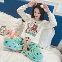 珊瑚绒睡衣女冬季卡通韩版学生清新甜美可爱加厚秋季法兰绒家居服 YM自拍兔熊