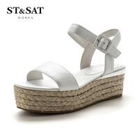【满99减30】星期六(ST&SAT)专柜同款牛皮革一字带松糕底女鞋凉鞋SS72115580