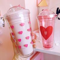 汉馨堂 塑料杯 双层带盖韩式少女心爱心吸管杯软妹可爱便携随身杯学生水杯