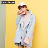 美特斯邦威呢子大衣女中长款冬装简约时尚西装领外套可爱学生