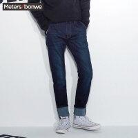 美特斯邦威牛仔长裤男士秋冬装韩版磨毛修身小脚裤子青少年潮流