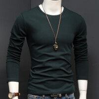 秋季打底衫纯色男士长袖T恤圆领秋衣服修身男装秋冬加厚体恤潮流