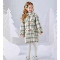 新款秋冬装洋气羊角扣儿童大童加厚格子呢子大衣女童毛呢外套