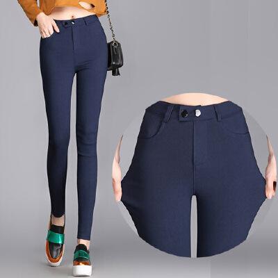 新款打底裤外穿长裤紧身黑色小脚裤双扣贴皮高腰大码铅笔女裤MN915