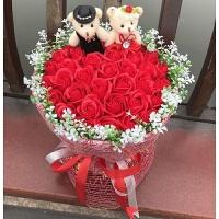99朵玫瑰香皂花小熊卡通花情人节求婚表白生日礼物仿真花肥皂花束