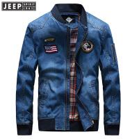 吉普棒球领牛仔夹克外套男士户外运动上衣秋冬新款弹性缩口长袖夹克上装夹克