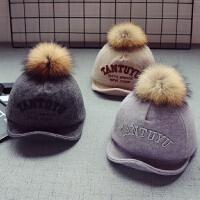 秋冬儿童宝宝棒球帽真毛球帽男童鸭舌潮翻檐帽5个月-2岁女童