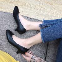 【软皮无痛工作鞋】黑色尖头高跟鞋女鞋皮鞋职业细跟粗跟中跟单鞋