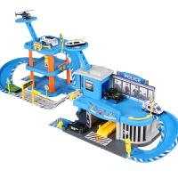 工程车合金消防车玩具可变形停车场男孩升降云梯儿童益智小轨道车