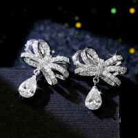 韩国 925银耳针人造水晶耳环气质甜美蝴蝶结耳钉女百搭耳饰配饰品
