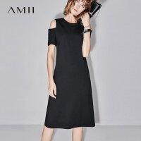 【AMII 超级品牌日】Amii[极简主义]2017夏装新款修身纯色圆领露肩收腰连衣裙11742566