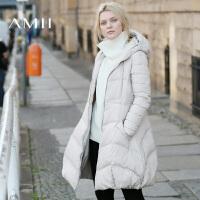 AMII[极简主义]冬装新款女装加厚连帽拉链A摆字型羽绒服