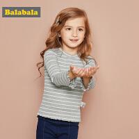 巴拉巴拉童装女童长袖T恤小童宝宝儿童秋装2017新款针织打底衫