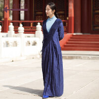 生活在左2018新款秋季女装长袖中国风复古手工编织系带汉服长外套