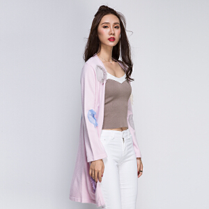 2017新款春秋开衫外套中长薄款流苏学生时尚长袖毛衣针织衫