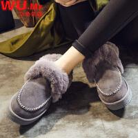 乌龟先森 棉鞋 女士冬季新款雪地鞋子皮毛一体短靴子女式加绒保暖防滑休闲百搭学生女鞋