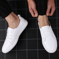男鞋牛皮板鞋韩版百搭休闲皮鞋男士透气小白鞋系带潮鞋男时尚单鞋运动鞋