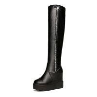 【】过膝长靴加绒内增高靴子女秋冬季拉链弹力靴女高筒坡跟 黑