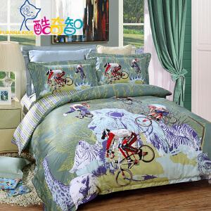 [当当自营]富安娜酷奇智全棉四件套 卡通纯棉斜纹1.5m床品儿童套件 极限单车 蓝色 1.8米床(6英尺)