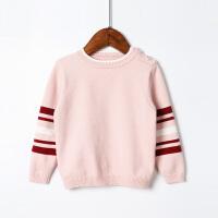全织时代女童毛衣套头女宝宝韩版撞色条纹长袖打底衫春秋针织上衣