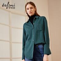 伊芙丽冬装新款韩版立领衬衣女修身单排扣韩范长袖衬衫女
