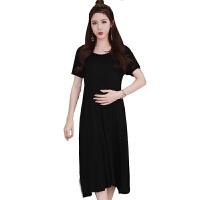 慈颜孕妇装夏装韩版短袖孕妇连衣裙孕妇裙 过膝长裙YLYM830