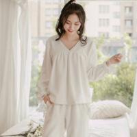 韩版睡衣女冬法兰绒可爱性感长袖白色蕾丝公主风秋冬绒家居服套装