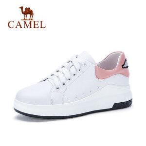 Camel 骆驼真皮内增高小白鞋女2018春新款休闲平底女鞋百搭厚底系带鞋子