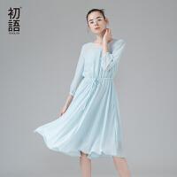 初语 夏季新品   清凉净色圆领腰间抽绳中袖连衣裙
