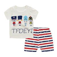 儿童短袖套装男女夏装婴儿衣服宝宝纯棉两件套1-5岁小童夏季衣服 白色 四个小卫兵短