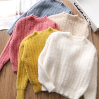 女童毛衣 宝宝圆领针织衫儿童套头衫打底上衣