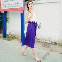 2018夏季女装半身裙纯色压皱优雅百褶波西米亚长裙连衣裙子女 紫色