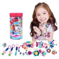 儿童手工彩色串串DIY波普串珠无绳项链女孩穿珠子益智玩具