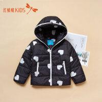 【1件2折后:35.8元】红蜻蜓冬季新款爱心印花保暖小巧百搭男女童儿童棉服外套